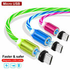 2 Pack Magnetic Flowing Light Charging Micro USB C Type-C Phone Charger Cable US