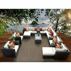 6pc Outdoor Patio Garden Furniture Sectional Sofa Set Rattan W/ Table & Cushion