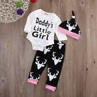 Baby Boy Girl  Autumn Letters Print Long Sleeve Romper Tops Floral Trousers+Hat-