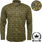 Relco Mens Platinum Geometric Abstract Print Long Sleeved Button Down Shirt