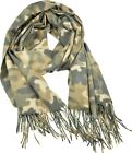 Women Camouflage Pattern Scarf Thick Wrap Wool Blend Chic Shawl Winter Olive