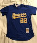 Milwaukee Brewers #22 Yellich 1990's Jersey Blue BP Mesh pullover Mens Throwback on Ebay