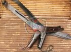 44/45 SMOOTH RightHand Tooled Holster LEATHER Western RIG Gun Belt DropLoop SASS