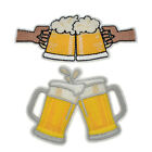 1/2pcs Embroideried Beer Mug Patches Sew/Iron on Garment Bag Applique Decor USA