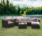 5/6pcs Outdoor Patio Garden Furniture Sectional Sofa Set Rattan With Table Black