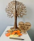 Guest Book Wish Tree Package 40cm Rustic Autumn Tree Personalised Engraved Sign