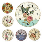 European Style Rustic For Home Wall Hanging Flower Print Round Retro Wall Clock