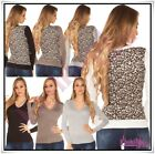 Womens Jumper Sweater Ladies Casual V Neck Leopard Pullover One Size 6-12 UK