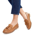 Womens Ex ASOS Tan Wide Fit Real Leather Loafers Ladies Size 2 3 4 5 6 7 8 9