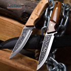 """8.5"""" Rosewood Handle Fixed Blade Knife w/ Etched Blade Camping Hunting Fishing"""