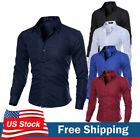 Mens Luxury Slim Fit Casual Shirt Long Sleeve Business Formal Dress Shirts Tops