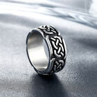 Mens Viking Stainless Steel Ring Runes Compass Adjustable Ring Nordic Jewelry photo