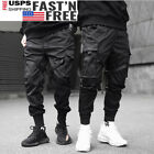 Men Harajuku Hip Hop Harem Pants Cargo Pants Street Fashion Black Joggers