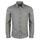 New Mens Checked Shirt Long Sleeve Button Up Collared Casual 100% Cotton Top
