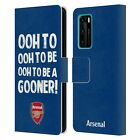 OFFICIAL ARSENAL FC GOONERS LEATHER BOOK CASE FOR HUAWEI PHONES