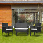 Rattan Garden Furniture Set Table And Chairs Sofa Outdoor Patio Set Yard Black