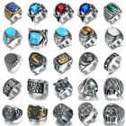 Vintage Mens Silver Stainless Steel Gothic Masonic Biker Rings Jewelry 7-15 image
