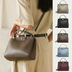 2 Way Real Leather Small Top Handle Shoulder Bag Grab Bag Crossbody Purse Tote