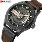 CURREN Men Watches Casual Leather Male Quartz Wristwatch Date Display Watch Gift image