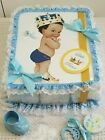 Blue  Gold Little Prince Square Sheet Diaper Cake Baby Shower Centerpiece Gift