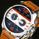 CURREN Men Watch Casual Leather Bracelet Wristwatch Large Dial Male Watches Gift image