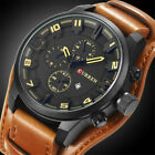 CURREN Men Military Quartz Watch Large Dial Casual Leather Strap Male Wristwatch image