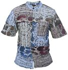 Mens Snake Print Patchwork Button Up Holiday Shirt Cotton Short Sleeve  <br/> Festival Hippy Wooden Button