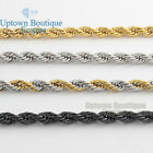 Men Women Stainless Steel 2mm/3mm/4mm/5mm Diamond Cut Rope Chain Necklace