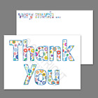 1-100 Pack of Thank You Cards Postcards Notes Envelopes A6 Thankyou Floral Multi