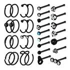 32PCS Nose Hoop Ring Bone Studs Surgical Steel Straight Bar Lip Ear Piercing 20G image