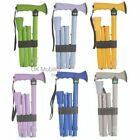 Bright Colour Walking Stick Cane Gel Grip Handle Folding T Height Adjustable
