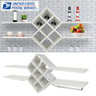 Metal Wood Wall Mounted Stand Wine Rack Glass Holder Storage Display Shelf Home