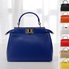 Small Real Leather Trapezoid Shoulder Purse Grab Bag Crossbody Tote Twist-Lock