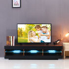 57'' TV Cabinet Stand Unit LED Lights Shelves 2 Drawers Wood Console Table Home