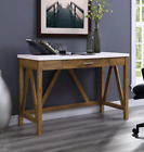 Vintage Computer Desk Rustic Wooden Furniture Writing Console Table Office PC