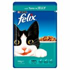 Felix Cat Food Pouch with Tuna in Jelly 100g I Choose between 10 - 20 Pouches