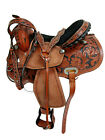 BARREL RACING TRAIL LEATHER WESTERN HORSE SADDLE STUDDED ROUGH OUT BLACK SEAT