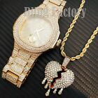 Iced Drip Broken Heart Necklace & Lab Diamond Bling Gold plated Metal Watch Set image
