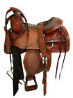USED WESTERN ROPING TRAIL RANCH RODEO LEATHER HORSE SADDLE FLORAL TOOLED TACK