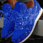Womens Ladies Sparkly Shiny Trainers Sneakers Lace Up Casual Sport Shoes Size UK