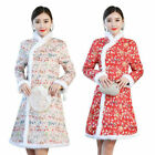 Women Tang Suit Warm Dress Traditional Jacket Coat Chinese New Year Jumper Dress