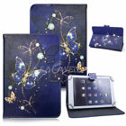 "For 9.7-10.1"" inch Tablet Navy Butterfly Universal Leather Case Cover / Keyboard"