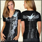 Salvage Conquer Liberate Sparrow Dagger Tattoo Womens V-Neck T-Shirt Black XS