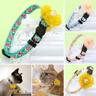 Breakaway Embroidered Cat Collar with Big Flower Quick Release Kitten Necklace