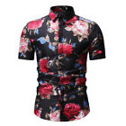 Mens Hawaiian Vintage Floral Print Tee Button Down Cool T Shirts Slim Fit Tops