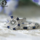 Fashion 2pcs/Set Luxury Blue Wedding Ring For Woman Silver Plating Zircon Ring