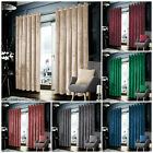 Blackout Crushed Velvet Curtains Eyelet Ring Top Ready Made Lined Pair Curtains