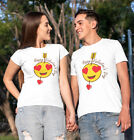Valentines Day 2020 Funny Emoticons Heart Eyes Adults T-Shirt