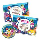 PERSONALISED BABY SHARK KIDS BIRTHDAY PARTY INVITATIONS THANK YOU NOTE STICKER