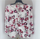 New Women's Plus Size White Red Floral Blouse Daisy Fuentes 1X 2X 3X